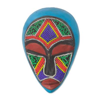 African beaded wood mask, 'Abusua' - Colorful Beaded African Wood Mask from Ghana