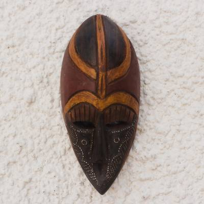 African wood mask, 'Noyim' - Artisan Crafted Aluminum and Wood Wall Mask