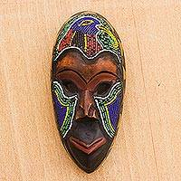 African beaded wood mask, 'Serie' - Beaded Wood African Mask with Bird Motif