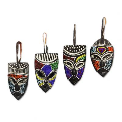 African beaded wood masks, 'Melowo' (set of 3) - Hand Crafted Beaded Wood Small African Masks (Set of 3)