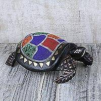Beaded wood sculpture, 'Queen Turtle' - Colorful Beaded Turtle Sculpture Handmade in Ghana