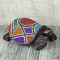 Wood and recycled glass bead sculpture, 'King Turtle' - Ghanaian Hand Crafted Wood and Recycled Glass Beaded Turtle