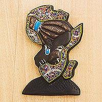 Beaded wood sculpture, 'African Mama' - Beaded African Wood Sculpture of African Continent