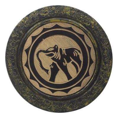 Ghanaian Handmade Wood Decorative Plate with Elephant Motif