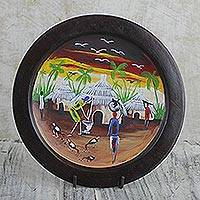 Decorative wood plate and stand, 'African Village Scene' - Hand Painted Decorative Plate with Village Scene