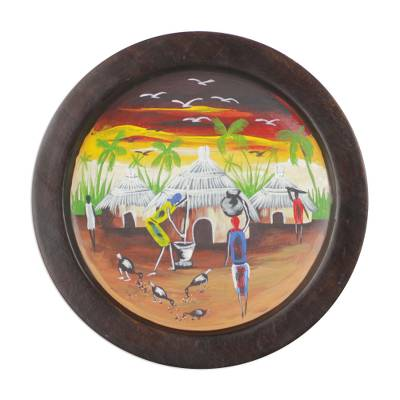 Hand Painted Decorative Plate with Village Scene