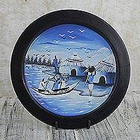 Decorative wood plate and stand, 'African Fishing Village' - Artisan Crafted Decorative Plate of African Fishing Village