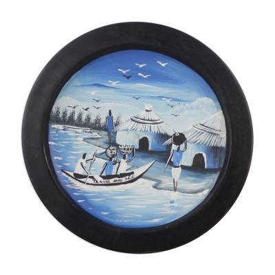 Artisan Crafted Decorative Plate of African Fishing Village