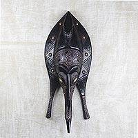 African wood mask, 'Triple Fish' - Fish Shaped African Wood and Metal Mask