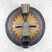 African wood mask, 'Traditional Beauty' - Akan Style Wood Mask with Aluminum and Recycled Beads
