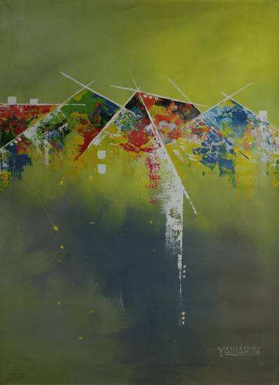 Abstract Acrylic on Canvas Painting of Ghanaian Settlement