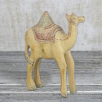 Wood statuette, 'Charming Camel' - Hand Carved Wood Camel Statuette from West Africa