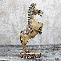 Wood statue, 'Rearing Stallion' - Artisan Hand Carved Sese Wood West Africa Wood Horse Statue