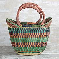 Leather accented raffia tote bag, 'Bolga Basket' - Hand Woven Raffia Natural Fiber Tote with Leather Strap