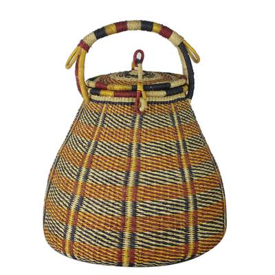Colorful Handwoven West African Raffia Covered Basket