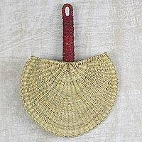 Raffia hand fan, 'Cool Breeze' - Hand Woven Raffia Natural Fiber Fan with Handle from Ghana