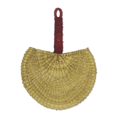 Hand Woven Raffia Natural Fiber Fan with Handle from Ghana