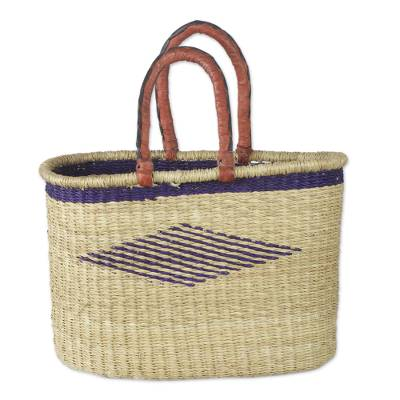 Hand Woven Raffia Tote with Leather Handles