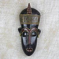African wood mask, 'Fertility Doll' - Hand Carved African Wall Mask with Earrings
