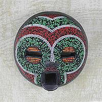 African beaded wood mask, 'Tired Eyes' - African Wood Mask Beaded with Recycled Glass from Ghana