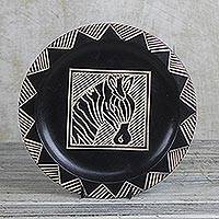 Wood decorative plate, 'Zebra Stripes' - Ghanaian Hand Carved Wood Decorative Plate with Zebra Motif
