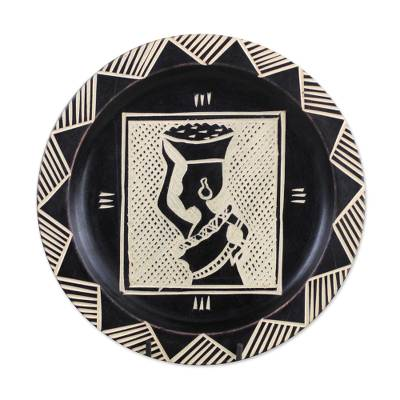 Etched Decorative Wood Plate with West African Motifs