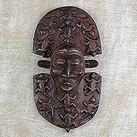 African wood mask, 'Mother Africa' - Hand Carved West African Sese Wood Wall Mask