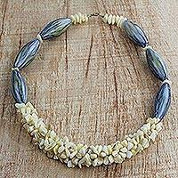 Agate and recycled plastic beaded necklace, 'Sandy Shores' - Agate and Recycled Plastic Beaded Necklace from West Africa
