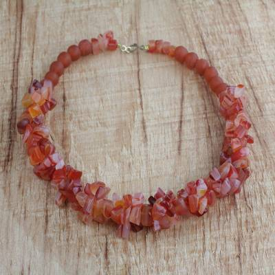 Agate and recycled glass beaded necklace, 'Coral Kiss' - Handmade Coral Red Agate and Recycled Glass Beaded Necklace