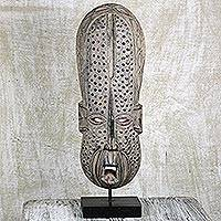 African wood mask, 'Asomdwe' - Hand Crafted African Wood Mask on Stand