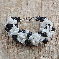 Agate beaded bracelet, 'Magical Monochrome' - Black and Off-White Agate Beaded Bracelet Handmade in Ghana