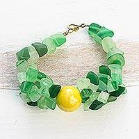 Agate beaded bracelet, 'Selorm' - Handmade Agate Beaded Bracelet with Recycled Glass Beads
