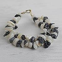 Agate beaded bracelet, 'Bold Beauty' - Speckled Agate Beaded Bracelet Handmade in Ghana