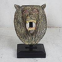Wood sculpture, 'Lion Head' - Artisan Crafted Lion Head Sculpture on Wooden Stand