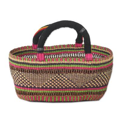 Colorful West African Handwoven Open Raffia Basket