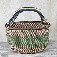 Raffia basket, 'Forest Clearing' - Handwoven Raffia Basket with Cotton Handles from Ghana