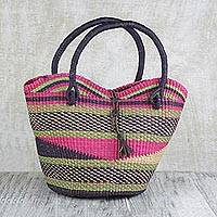 Leather accent raffia tote handbag, 'Rainbow Waves' - Handwoven Leather Trim Raffia Bolga Basket Tote Bag