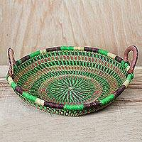 Leather accent raffia basket, 'Subdued Forest' - Raffia Hand Woven Leather Handled Flat Multipurpose Basket