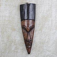 African wood mask, 'Gentleman' - Hand Carved West African Sese Wood Wall Mask