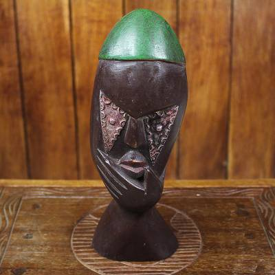 Wood sculpture, 'Green Thoughtfulness' - Thoughtful Sese Wood Sculpture by a Ghanaian Artisan