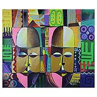'Idiomatic Expression' - Cubist Symbolic Acrylic Painting from West Africa