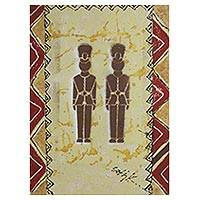 'Koti I' - West African Style Acrylic Painting of Uniformed Policemen