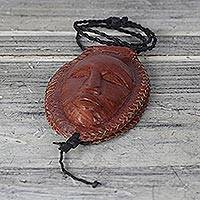 Leather coin purse, 'Safe With Me' - Handcrafted Burnt Orange Leather Face Coin Purse from Ghana