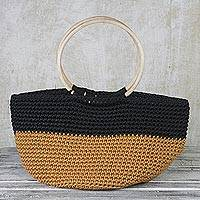 Handwoven tote bag, 'Chic Shopper' - Handcrafted Beige and Black Tote with Circular Wood Handles