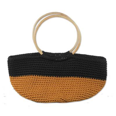 Handcrafted Gold and Black Tote with Circular Wood Handles