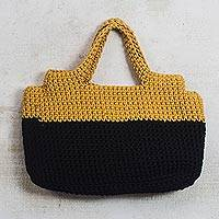 Crocheted handle handbag, 'Sunset in Africa' - Crocheted Handle Handbag in Onyx Black and Honey Yellow