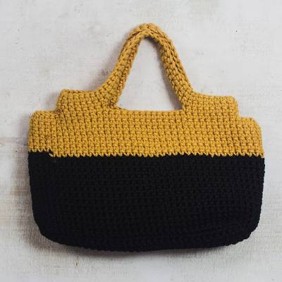 Hand-crocheted handle handbag, 'Sunset in Africa' - Crocheted Handle Handbag in Onyx Black and Honey Yellow
