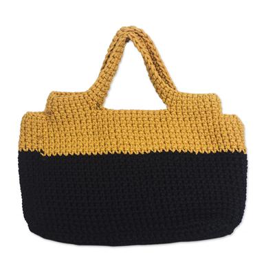 Crocheted Handle Handbag in Onyx Black and Honey Yellow