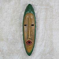 African wood mask, 'Agrobeso in Maize' - Hand Carved Sese Wood Wall Mask from West Africa