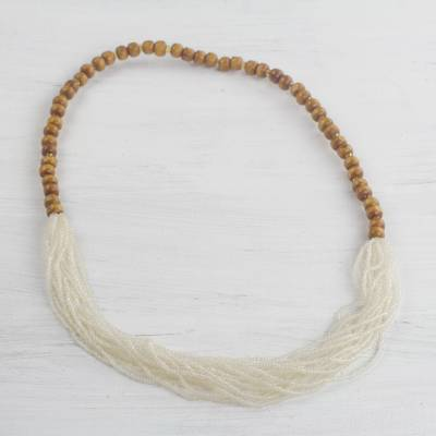 Glass and wood beaded necklace, 'Cool White Beauty' - Recycled Glass Beaded Necklace in Cool White from Ghana